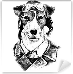 Papier peint vinyle Hand Drawn habillé aviateur chien