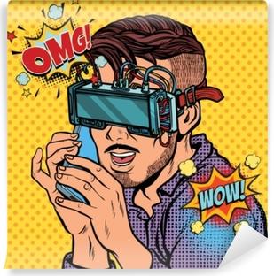 Papier peint vinyle Homme hipster dans des lunettes de réalité virtuelle, parler au téléphone