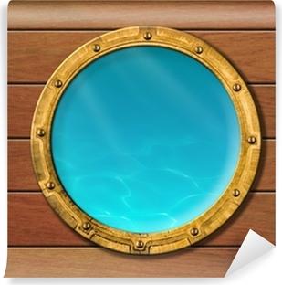 Papier peint vinyle Hublot de bateau avec vue sous-marine