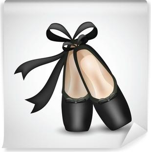 Papier peint vinyle Illustration de chaussures réalistes ballet noir de pointes