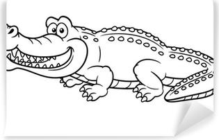 Sticker Illustration De Crocodile Cartoon Livre A Colorier