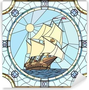 Papier peint vinyle Illustration de voiliers du 17ème siècle.