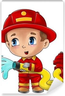Papier peint vinyle Illustration mignonne de bande dessinée d'un pompier