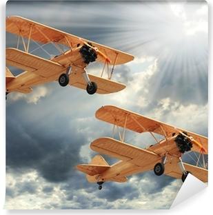 Papier Peint Vinyle Image de style rétro des biplans. thème des transports.