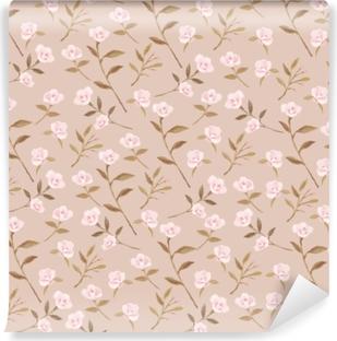 Papier peint vinyle jardin Camellia sur la crème de fond - Nina Ho