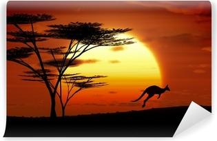 Papier peint vinyle Kangourou coucher du soleil Australie
