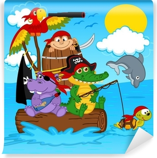 Papier peint lavable Animaux pirates - illustration vectorielle, eps