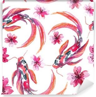Papier peint lavable Aquarelle asiatique poissons koi