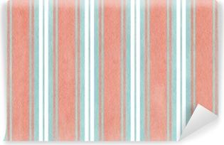 Papier peint lavable Aquarelle fond rayé bleu et rose.