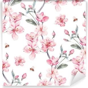 Papier peint lavable Arrière-plan transparent de vecteur jardin vintage printemps