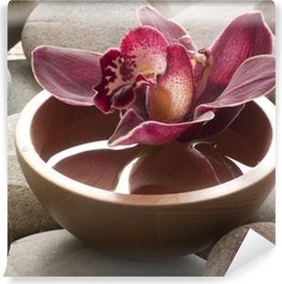 Papier peint lavable Bol eau galets orchidée feng shui