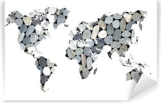 Papier peint lavable Carte du monde galets, fond blanc