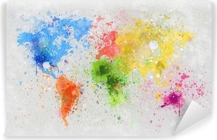 Papier Peint Lavable Carte du monde peinture