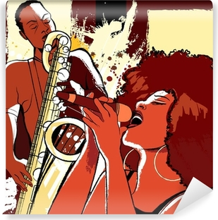 Papier peint lavable Chanteuse de jazz et saxophoniste sur fond grunge