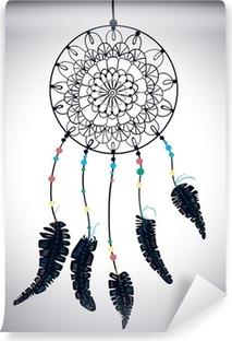 Papier peint lavable Couleur Indiens d'Amérique Dreamcatcher avec des plumes et de la flore oiseaux