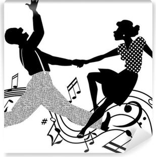 Papier peint lavable Couple dansant le rock and roll en noir et blanc