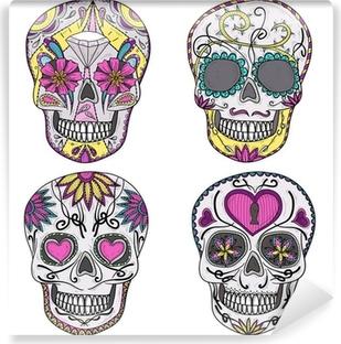 Papier peint lavable Crâne mexicain réglée. Crânes colorés avec des fleurs et coeur ornementation