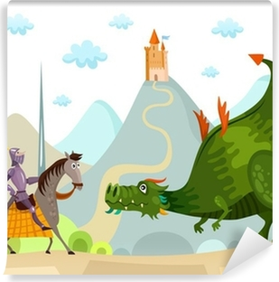 Papier peint lavable Dragon et chevalier