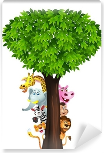 Papier peint lavable Drôle de safari animal cartoon