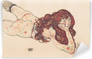 Papier peint lavable Egon Schiele - Femme nue couchée sur le ventre