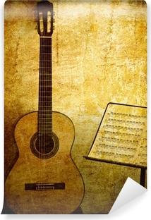 Papier peint lavable Guitare classique avec le stand note dans grunge