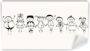 Papier peint lavable Heureux grande famille souriant ensemble, dessin croquis