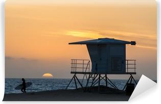 Papier peint lavable Huntington Beach surfeur coucher du soleil