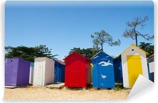 Papier peint lavable Huttes de plage sur l'île d'Oléron en France