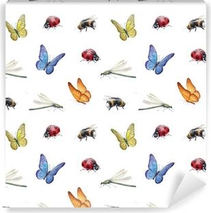 Papier peint lavable Insectes Aquarelle illustrations