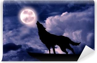 Papier peint lavable Loup hurlant à la pleine lune
