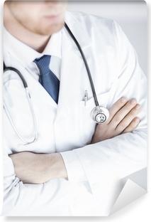 Papier peint lavable Médecin avec stéthoscope uniforme blanc