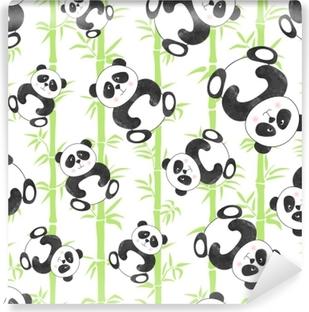 Poster Modele Sans Couture Avec Des Ours Panda De Dessin Anime