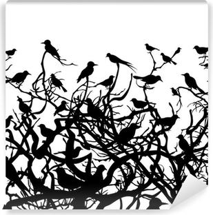 Papier peint lavable Oiseaux au-dessus wood4