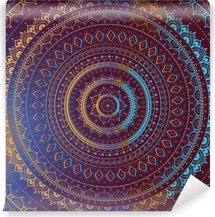 Papier peint lavable Or Mandala. Motif décoratif indien.