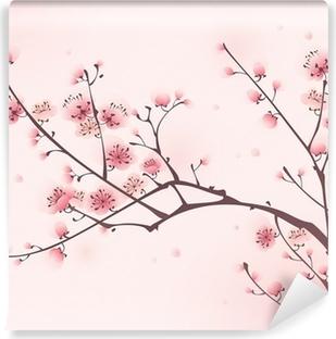 Papier peint lavable Peinture de style oriental, fleur de cerisier au printemps
