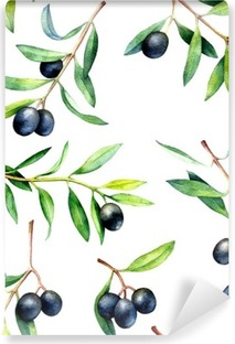 Papier peint lavable Seamless avec des branches d'olivier. Hand drawn illustration d'aquarelle.
