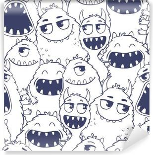 Papier peint lavable Seamless avec des monstres.