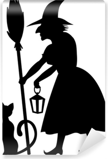 Papier peint lavable Sorcière et chat noir