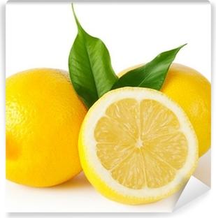 Papier peint lavable Trois citrons avec des feuilles