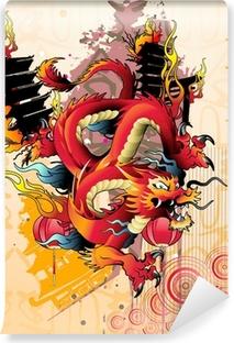 Papier peint lavable Vecteur de dragon japonais