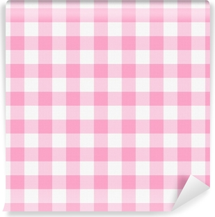 Papier peint lavable Vichy rose