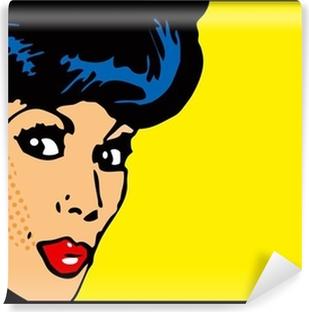 Papier peint lavable Vintage Clip Art Woman carte secrète des yeux grands ouverts