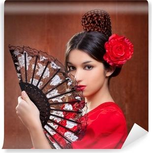 Papier peint vinyle Le danseur de flamenco gitane rose rouge ventilateur espagnol