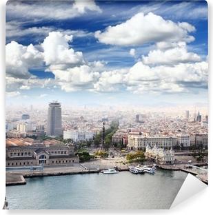 Papier peint vinyle Le Mémorial de Christophe Colomb et du centre-ville de Barcelone