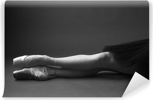 Papier peint vinyle Les jambes de ballerine magnifique dans pointes, monochrome