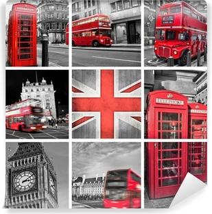 Papier peint vinyle Londres les photos collage, couleur sélective