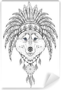 Sticker Loup Dans Le Gardon Indien Coiffe De Plumes D Aigle Indien