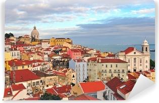 Papier peint vinyle Maisons multicolores de Lisbonne