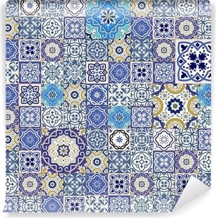 Papier peint vinyle Mega motif patchwork transparente de carreaux marocains colorés