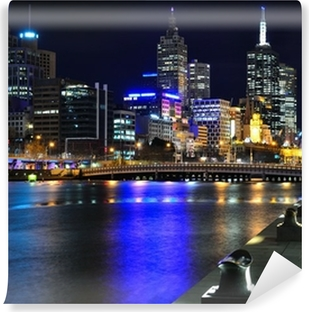 Papier peint vinyle Melbourne ma Skyline und Yarra River